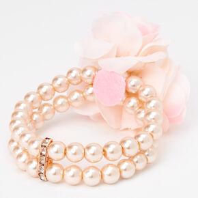 Pearl & Rose Stretch Bracelet Corsage - Pink,