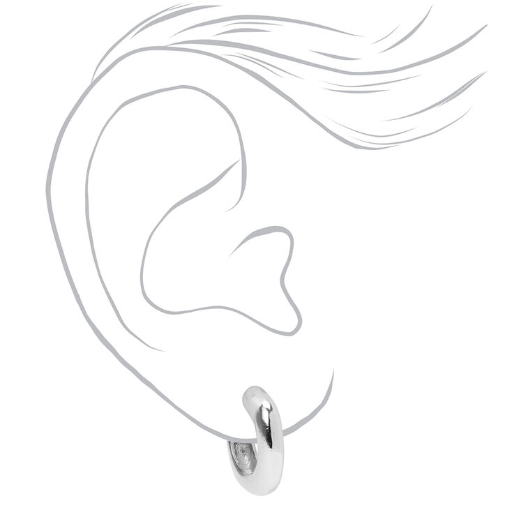 Silver 20MM Thick Square Bottom Hoop Earrings,