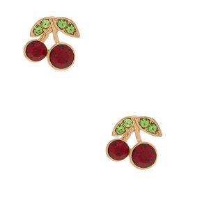 Gold Cherry Stud Earrings,