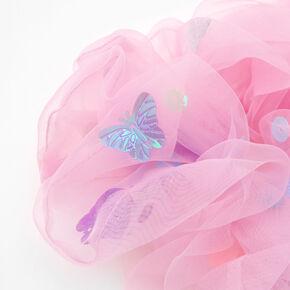 Giant Sheer Mesh Confetti Hair Scrunchie - Pink,