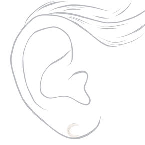 Sterling Silver Cubic Zirconia Crescent Moon Stud Earrings,