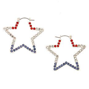 40MM Patriotic Star Hoop Earrings,
