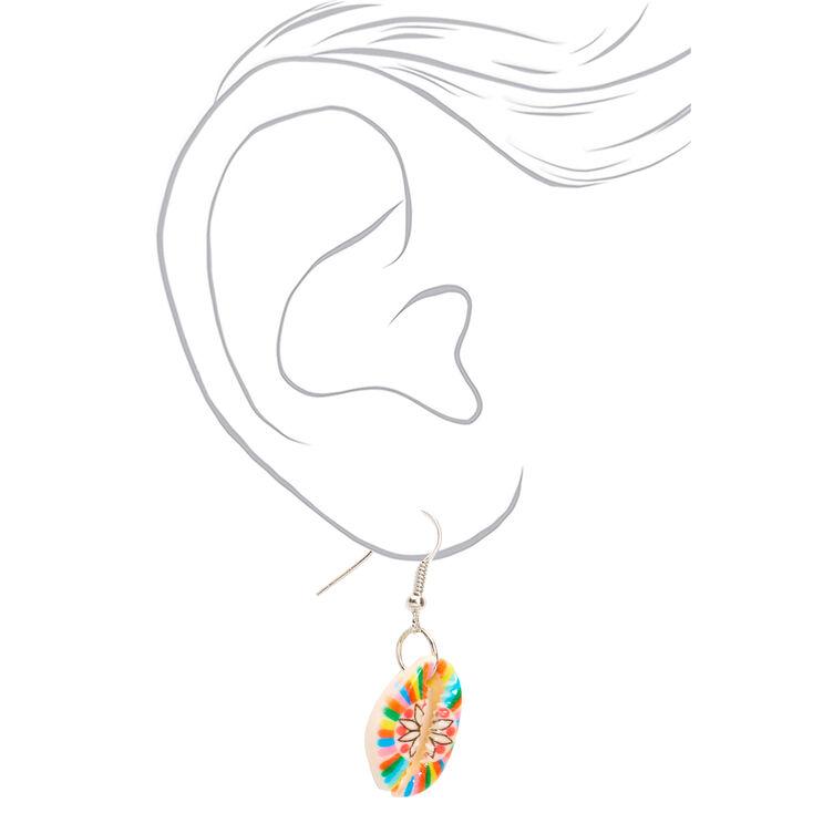 "Silver 1"" Rainbow Striped Cowrie Shell Drop Earrings,"