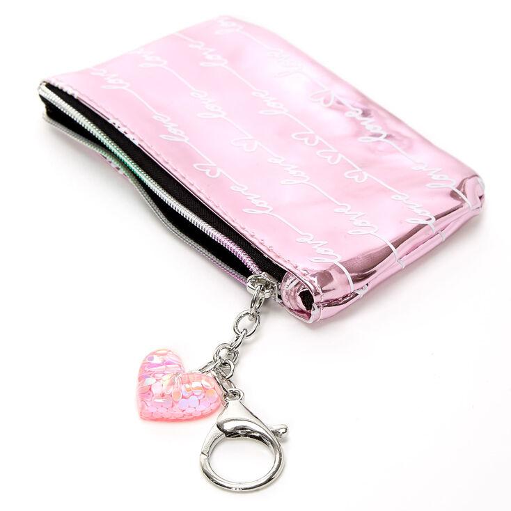 Metallic Love Script Coin Purse - Pink,
