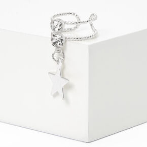 Silver Crystal Star Charm Ear Cuff,