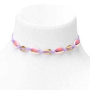 Purple Tie Dye Cowrie Shell Choker Necklace - Gold,