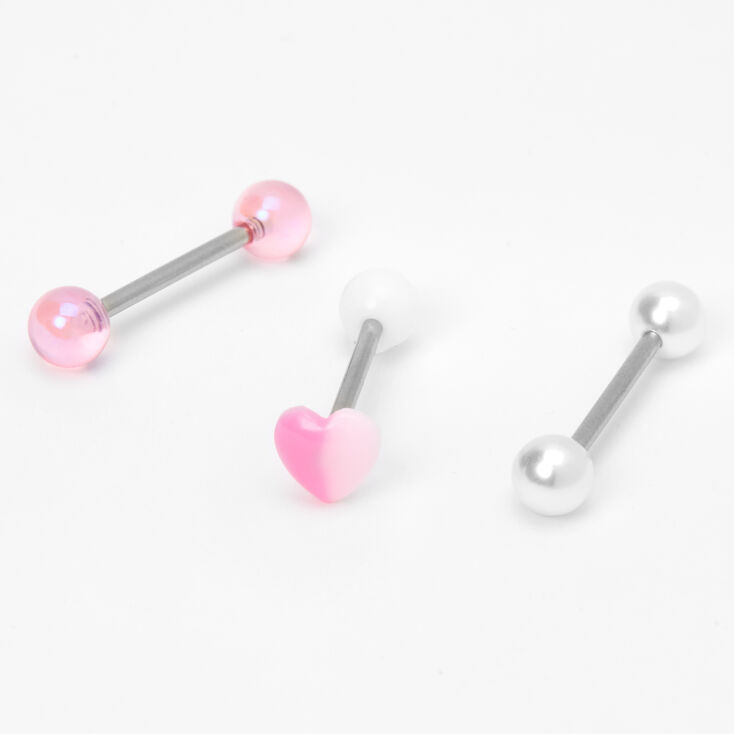 Silver 14G Heart Pearl Barbell Tongue Rings - Pink, 3 Pack,