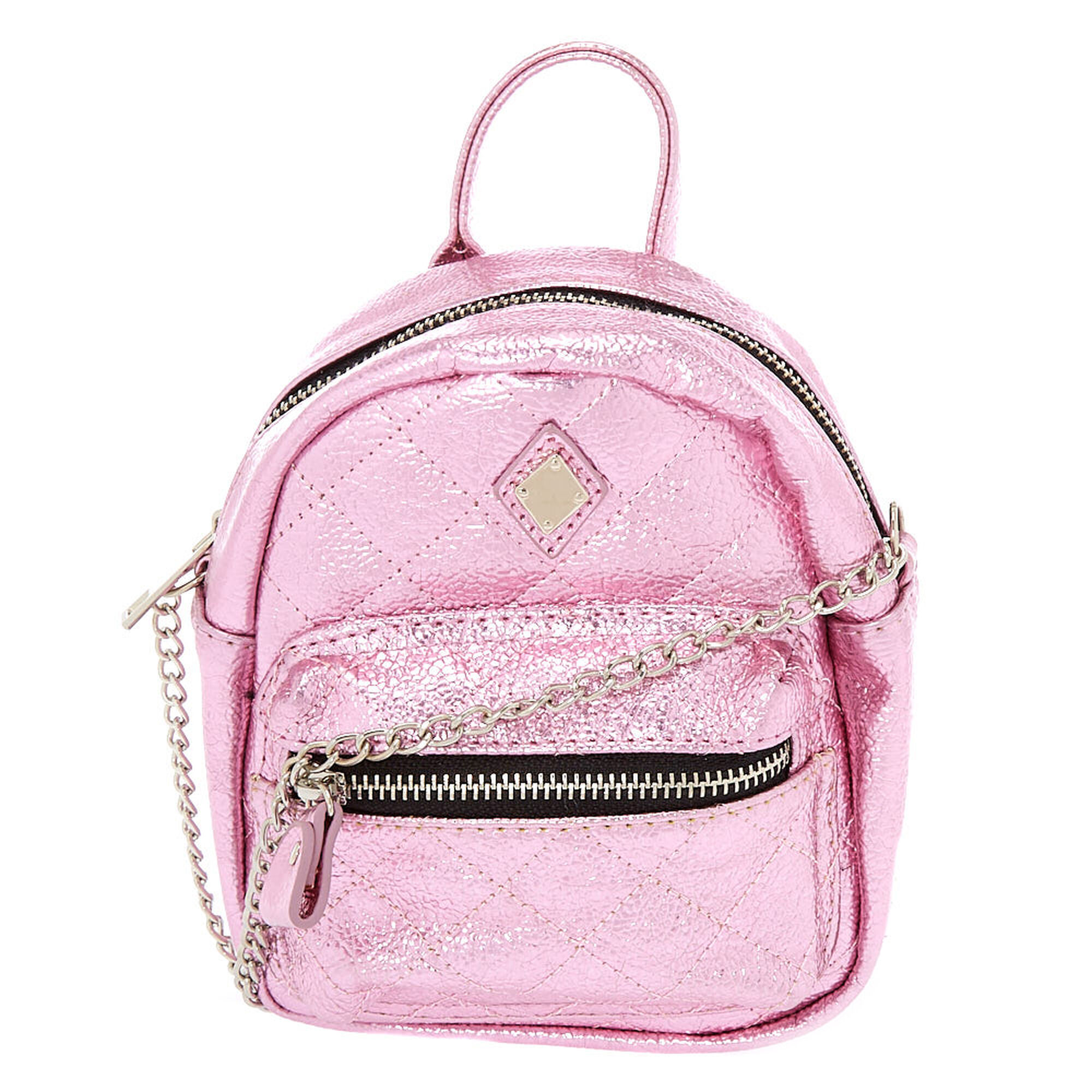Metallic Quilted Mini Backpack Crossbody Bag Pink