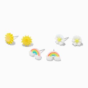 Daisy Rainbow Stud Earrings - 3 Pack,