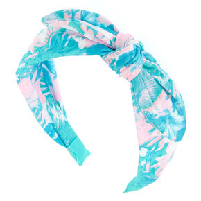 Tropical Palm Tree Knotted Bow Headband - Mint,