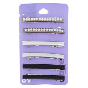 Hematite Pearl Metallic Hair Barrettes - 3 Pack,