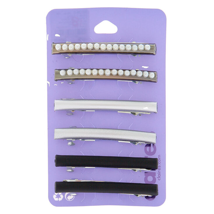 Lot de 3 barrettes métallisées hématite d'imitation et perle d'imitation,