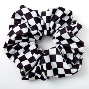 Medium Black & White Checkered Hair Scrunchie,