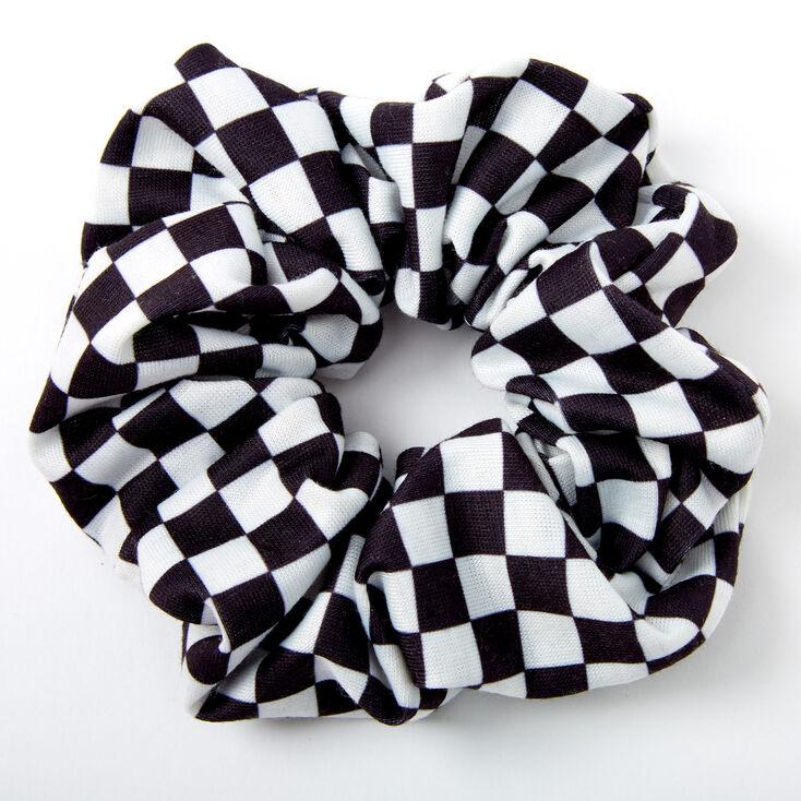 Medium Black & White Checkered Hair Scrunchie,