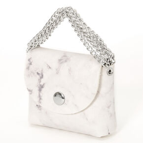 White Marble Mini Purse Earbud Case Cover - Compatible With Apple AirPods,