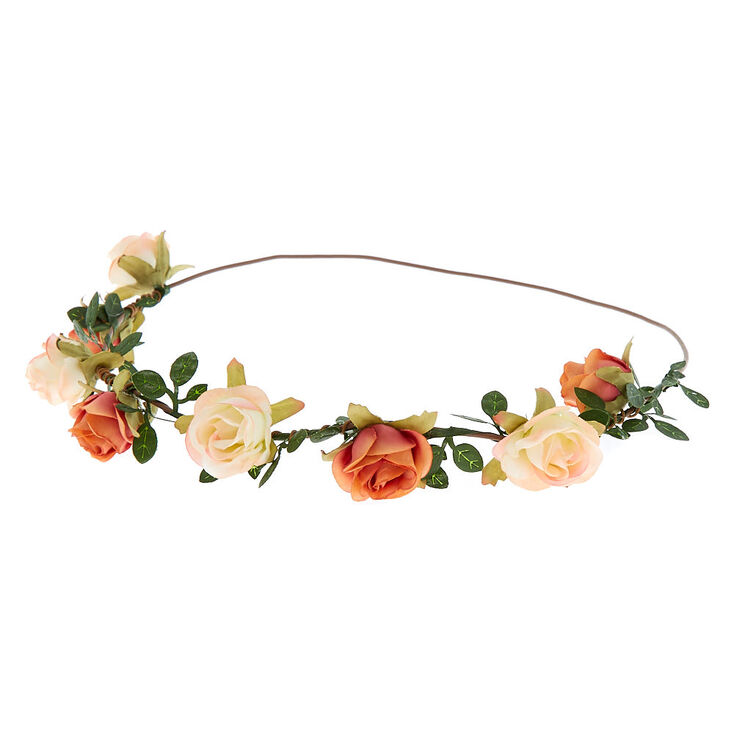 Mini Rose Flower Crown - Orange,