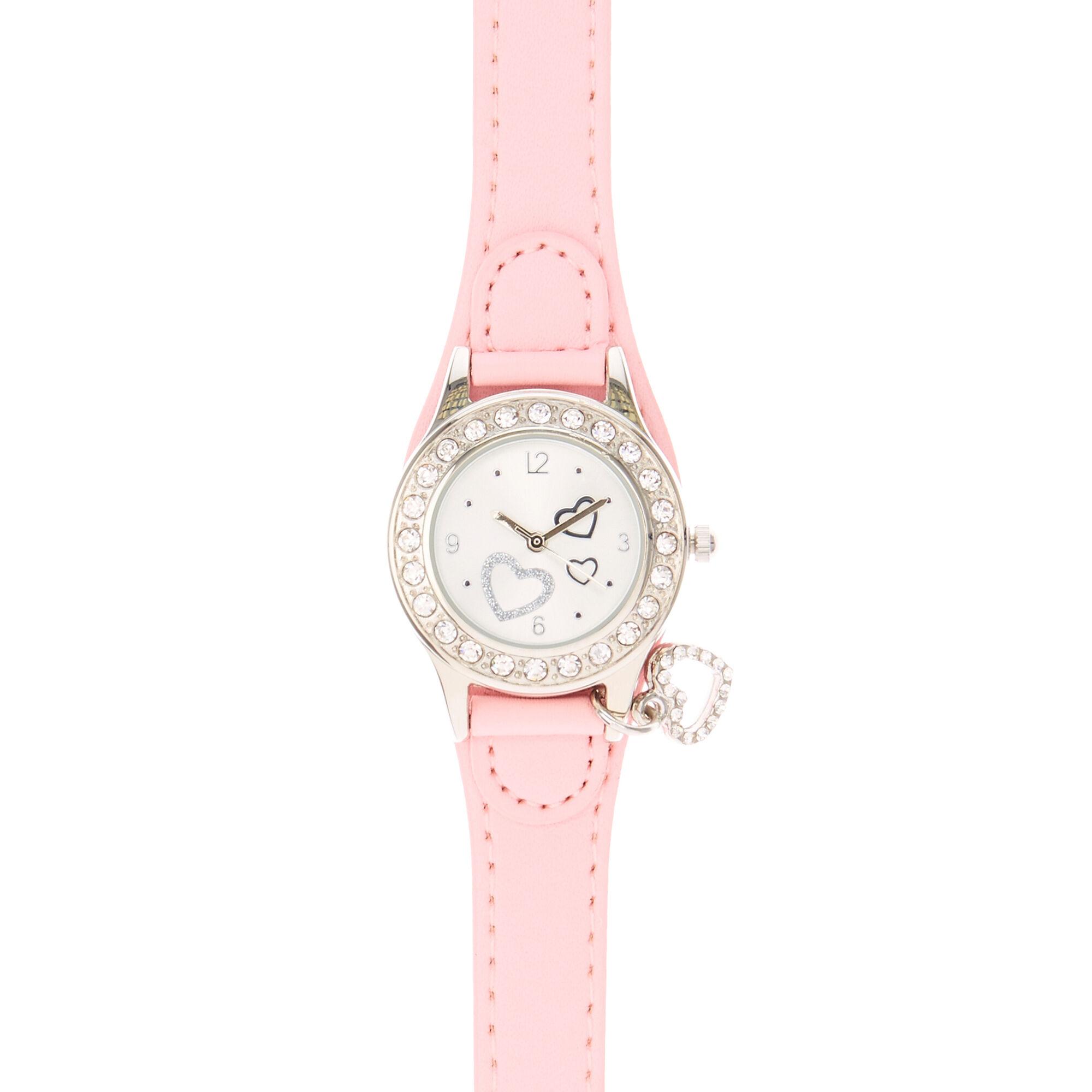 Pink Heart Charm Wrist Watch
