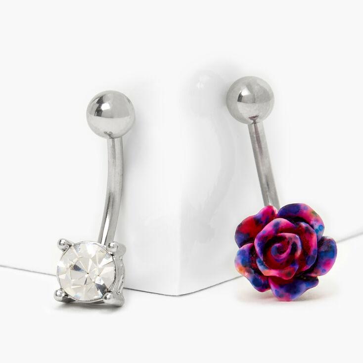Piercings de nombril rose tie-dye 1,6mm couleur argentée - Lot de 2,
