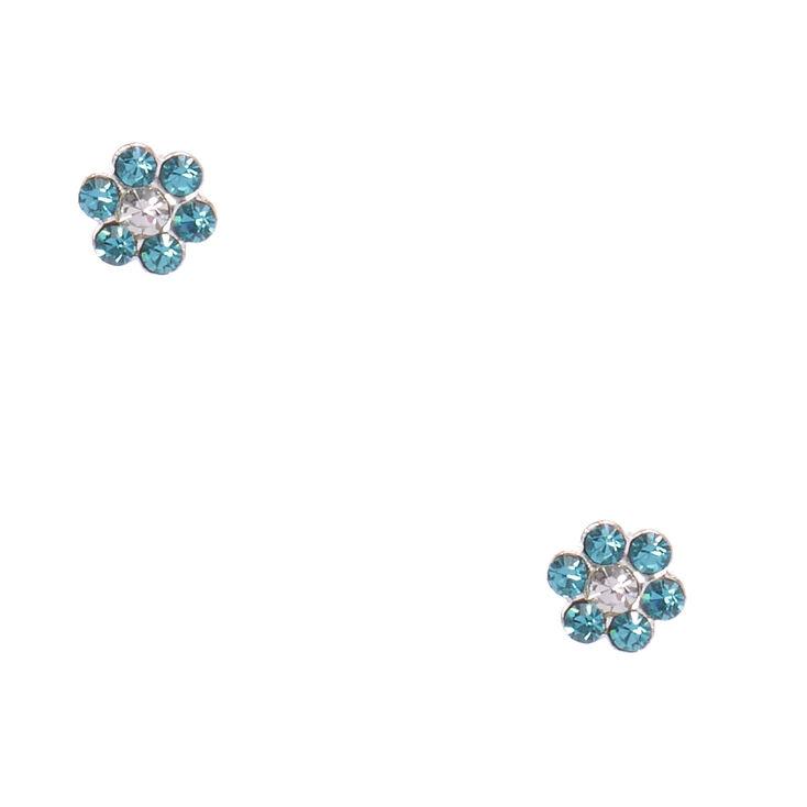 Sterling Silver Blue Zircon Flower Earrings