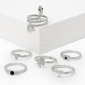 Silver Mystical Snake Rings - Black, 6 Pack,