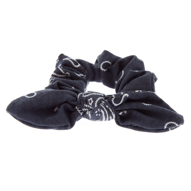 Small Bandana Knotted Bow Hair Scrunchie - Slate Grey,