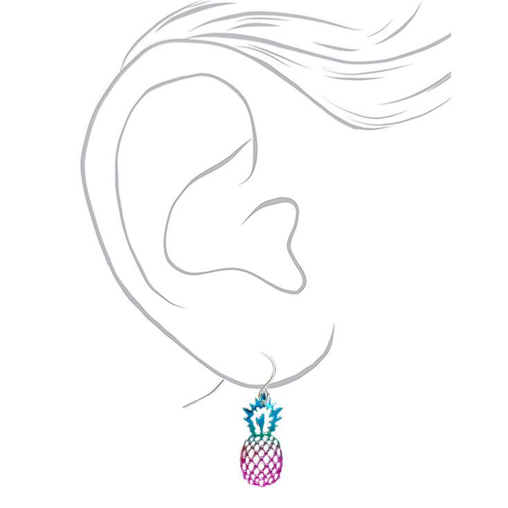 """Silver 1"""" Anodized Rainbow Pineapple Drop Earrings,"""