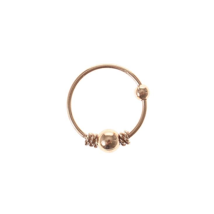 Rose Gold Beaded Cartilage Hoop Earring   Claire's US