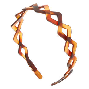 Tortoiseshell Triangle Braided Headband - Brown,