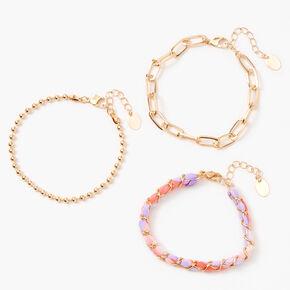 Gold Tie Dye Beaded Chain Bracelets - Purple, 3 Pack,