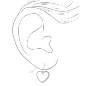 "Silver 1"" Embellished Heart Drop Earrings,"