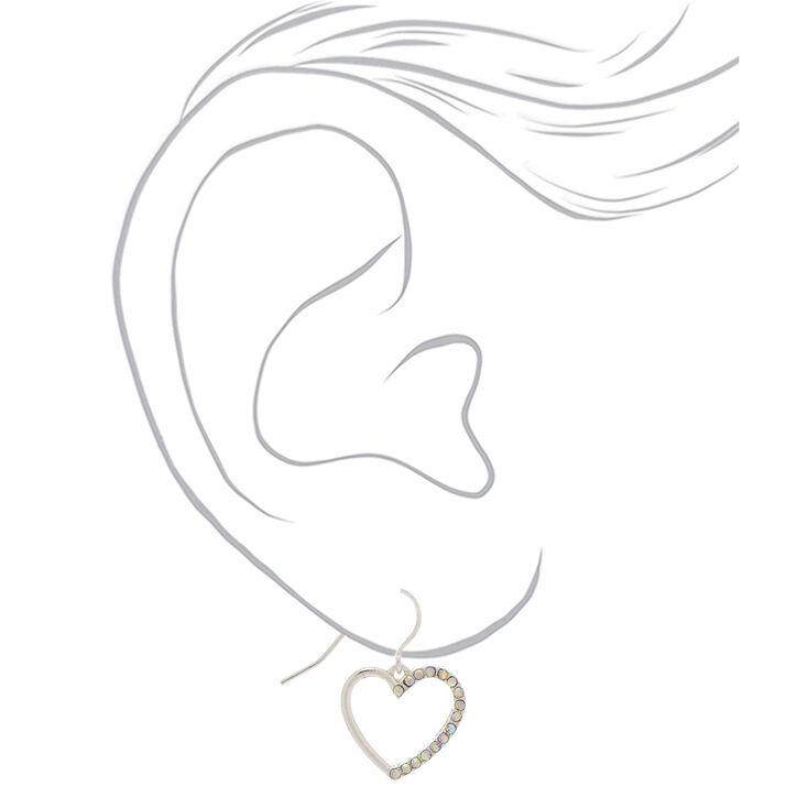 """Silver 1"""" Embellished Crystal Heart Drop Earrings,"""