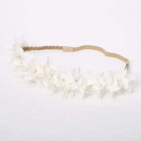 Flower Petal Braided Headwrap - White,