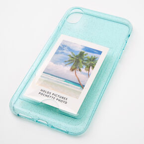 Mint Glitter Instax Mini Pocket Protective Phone Case - Fits iPhone XR,