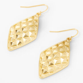 """Gold 2"""" Diamond Quilted Drop Earrings,"""