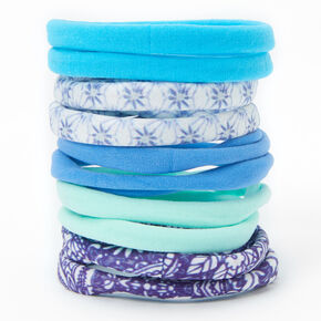 Mixed Pattern Rolled Hair Ties - Blue, 10 Pack,