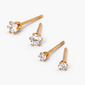 18kt Gold Plated Cubic Zirconia 2MM & 3MM Stud Earrings - 2 Pack,