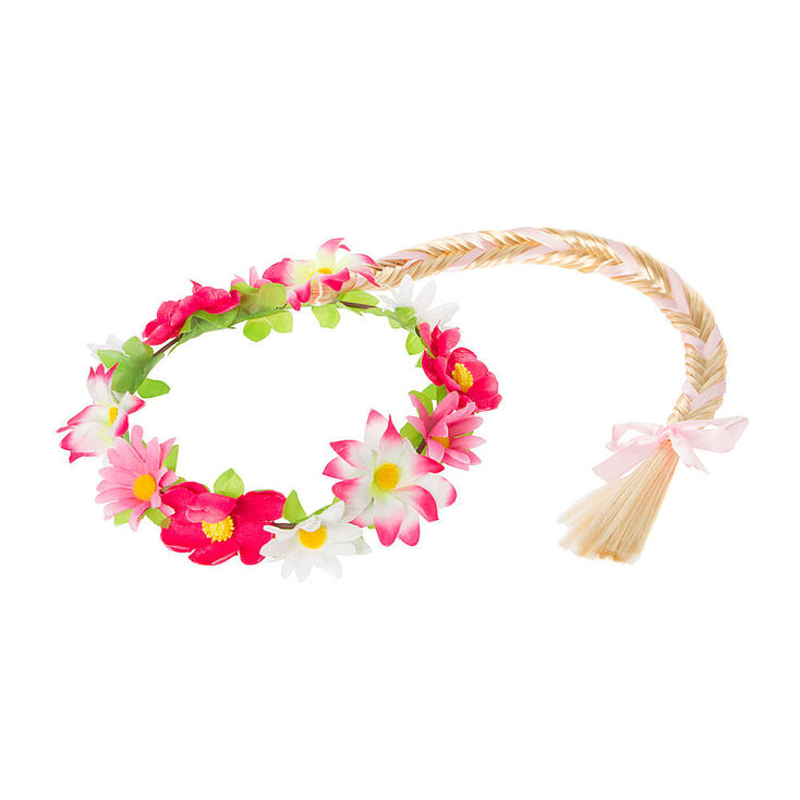 Kids pink flower garland headwrap with blonde faux hair fishtail kids pink flower garland headwrap with blonde faux hair fishtail braid mightylinksfo