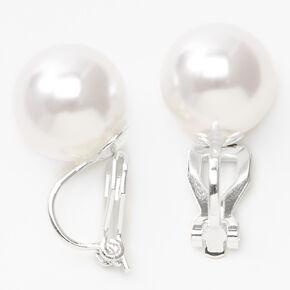 Clous d'oreilles à clip en perles d'imitation 12mm couleur argentée,