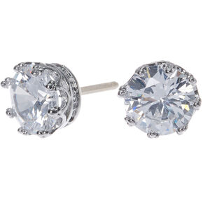 Silver Cubic Zirconia Round Crown Stud Earrings - 8MM,