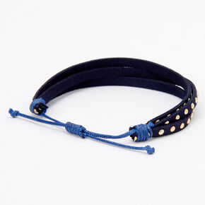 Gold Studded Adjustable Bracelet - Navy,