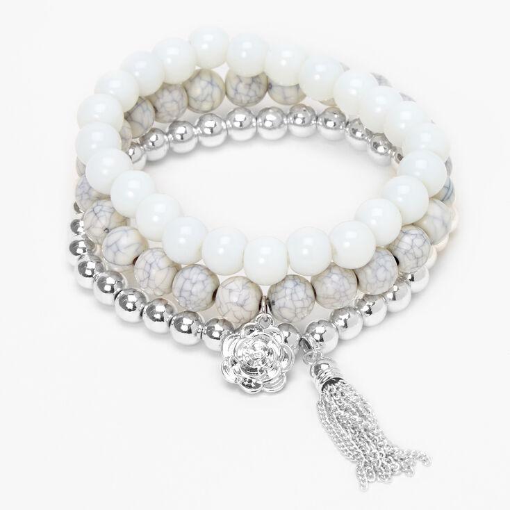 Rose Marble Beaded Stretch Bracelets - White, 3 Pack,