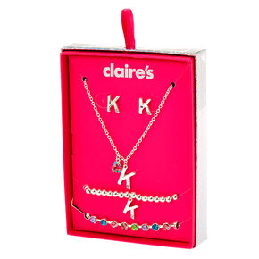 Go to Product: Silver Rainbow Initial Jewellery Gift Set - K, 4 Pack from Claires