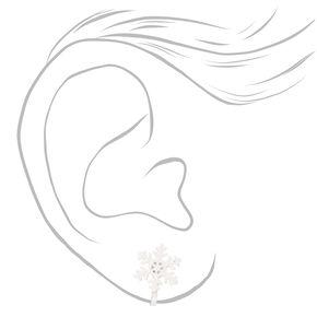 Snowflake Clip On Stud Earrings - White,