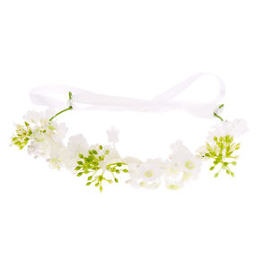 Claire's Club Flower Garland Headwrap - White,