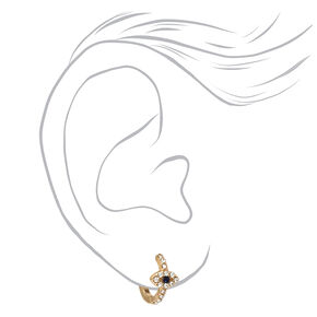 Gold 10MM Crystal Evil Eye Huggie Hoop Earrings,