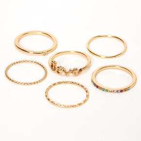 Gold Love Rainbow Stone Mixed Rings - 6 Pack,