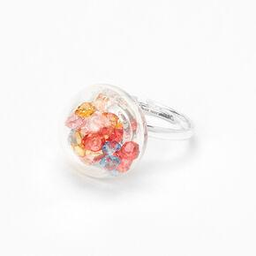 Silver Rainbow Stone Shaker Ring,