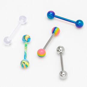 Silver 14G Mixed Rainbow Tongue Rings - 5 Pack,