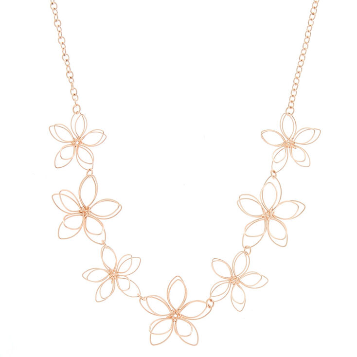 Rose Gold Wire Flower Statement Necklace Claire S