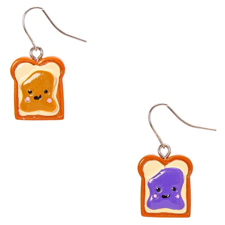 """Silver 0.5"""" PB & J Drop Earrings,"""